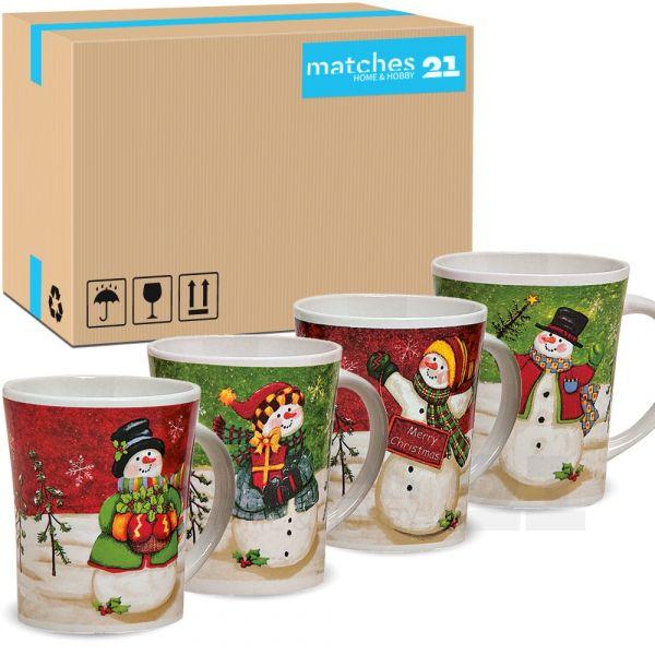 Weihnachtstassen Tassen Becher Kaffeebecher Schneemann 36 Stk. 11cm / 450ml