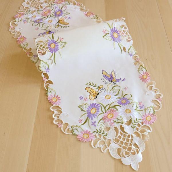 Tischläufer Mitteldecke Schmetterlinge Blumen Zierkante Stick bunt 40x140 cm