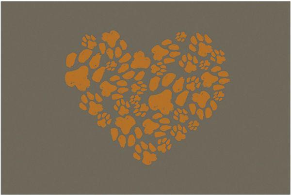 Fußmatte Fußabstreifer DECOR Herz Tatzen Hund Katze grau braun waschbar 40x60 cm