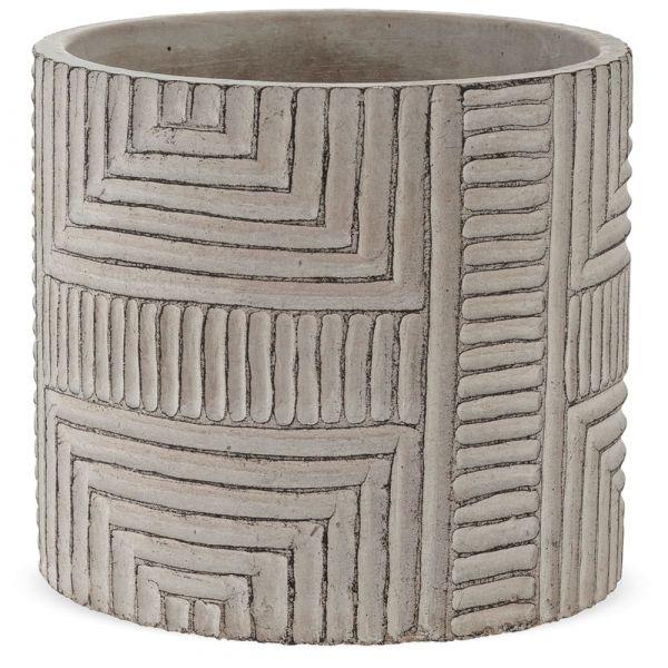 Pflanztopf Übertopf mit Rillen Struktur Muster Dekoration Zement grau 1 Stk Ø 16,5x15 cm