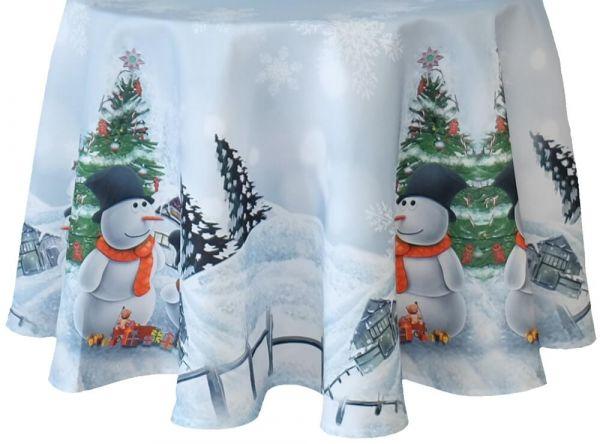 Tischdecke Tischtuch Weihnachten Schneemänner Foto Druck weiß bunt Ø 150 cm rund