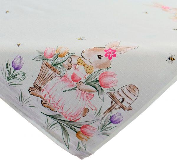 Tischdecke Mitteldecke Osterhase Mädchen Ostern Frühling weiß Druck bunt 85x85 cm