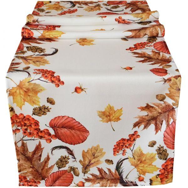 Tischläufer Mitteldecke Druck bunt Blätter Herbstlaub Tischwäsche 40x140 cm