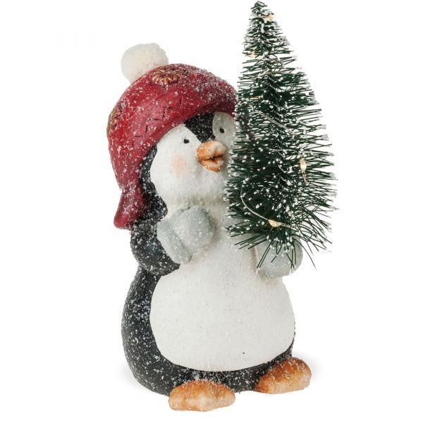 Pinguin & Tanne beleuchtet Schnee Glitzer Figur Weihnachten Keramik 1 Stk 18 cm