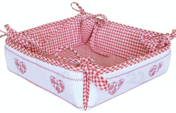 Brotkorb Stoff Landhaus rot weiß kariert & Herz Brot Korb Binden 35x35 cm