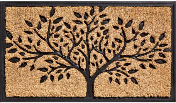 Fußmatte Kokos In- & Outdoor Gummi natur Struktur Baum mit Umrandung - 45x75 cm