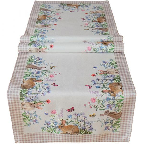 Tischläufer Mitteldecke Osterhasen & Wiese & Karo Bordüre Tischwäsche 40x140 cm