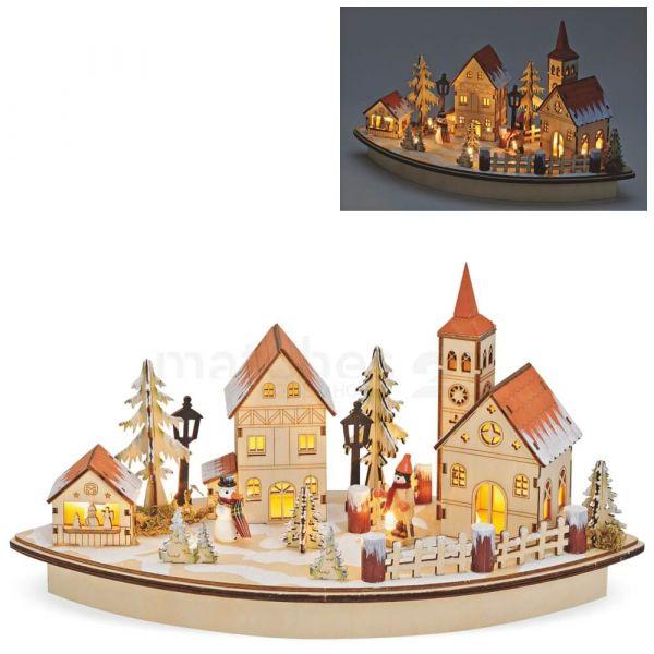 3D Winterszene Holzdeko Dorf LED Beleuchtung Weihnachtsdeko / Batterie 36x20 cm