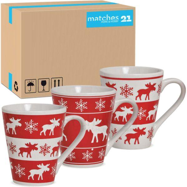 Tassen Weihnachtstassen Keramik Elch / Elche rot / weiß konisch 36 Stk 300 ml