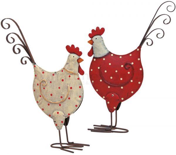 Hennen Hühner Dekofiguren Metall Ostern Frühling Figur weiß & rot 2er Set 25 cm