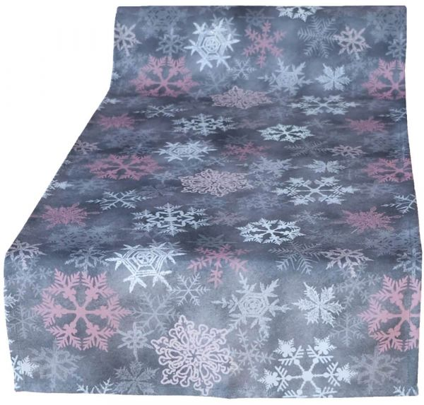 Tischläufer Mitteldecke Weihnachten Schneeflocken Foto Druck rosa grau 40x90 cm
