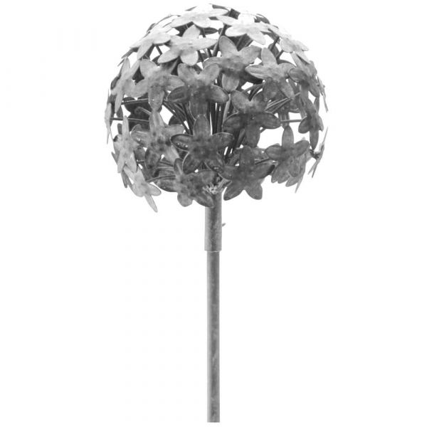 Blumen Blumenkugel Metall Erdspieß Dekokugel Outdoor silber 1 Stk Ø 16,2x111,2 cm