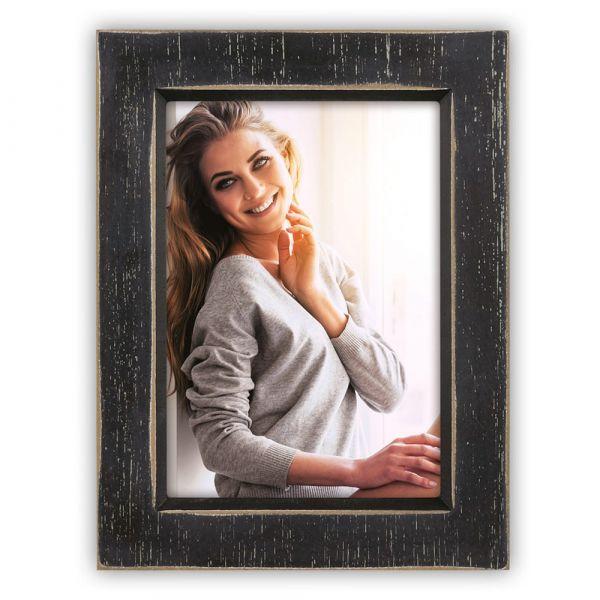 Bilderrahmen Fotorahmen Wechselrahmen Foto Vintage Holz Rahmen schwarz 10x15 cm