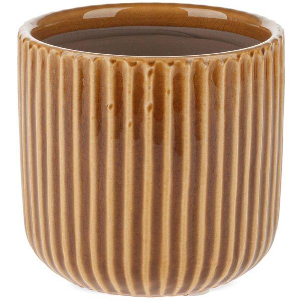 Übertopf Blumentopf Keramik mit Rillen Pflanztopf gerillt orange 1 Stk Ø 11,5 cm