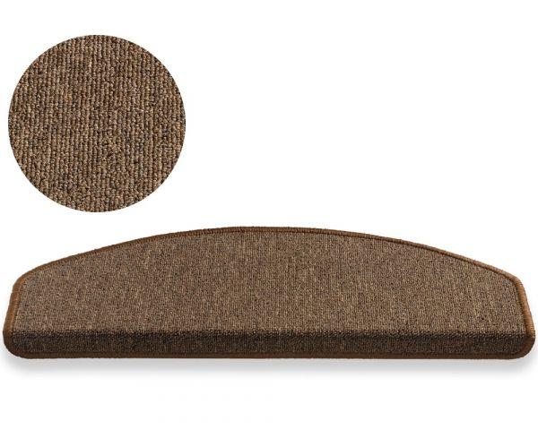 Stufenmatte Stufenteppich einfarbig 25x65 cm braun abgerundet