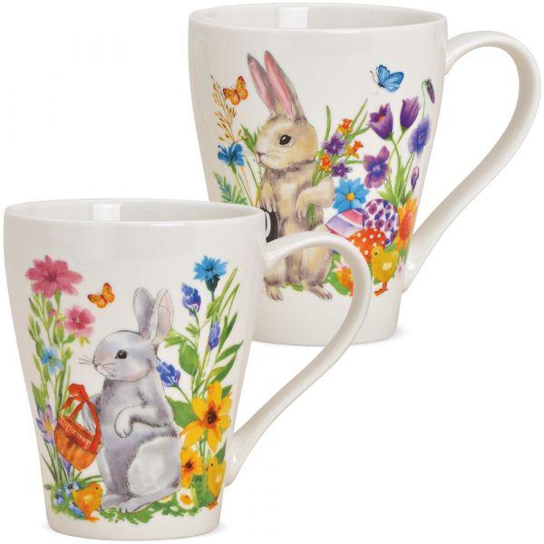 Tassen Kaffeebecher Osterhasen mit Blumen Porzellan 2er Set sort 350 ml 11 cm