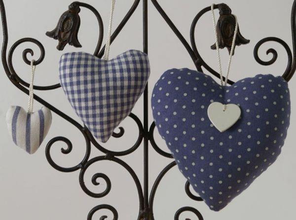 Stoff Herzen Dekohänger Aufhänger Landhaus Premium LINA 3er Set blau