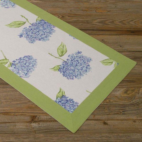 Tischläufer Mitteldecke Landhaus Premium LOTTE Hortensien Blüten 40x150 cm