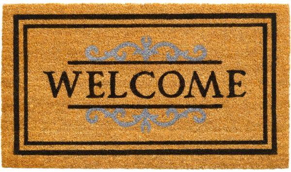 Fußmatte Kokos Indoor Abstreifer Welcome & Ornamente braun 1 Stk - 40x70 cm