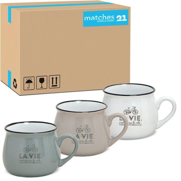 Tasse Becher Kaffeebecher Retro Motiv weiß taupe grau 36 Stk. Karton 250 ml