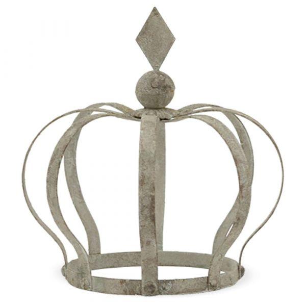 Krone Dekokrone Metall Gartenkrone grau Vintage Shabby Antik-Look 1 Stk - 18x30 cm