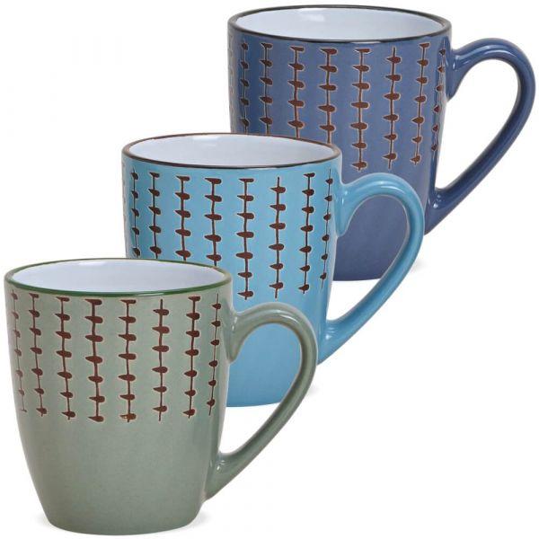 Tasse Kaffeebecher Muster Landhausstil Steingut farbig 1 Stk **B-WARE** 280 ml