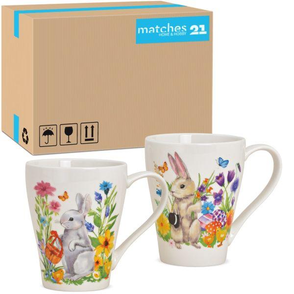 Tassen Kaffeebecher Osterhasen mit Blumen Porzellan 36 Stk sort 350 ml 11 cm
