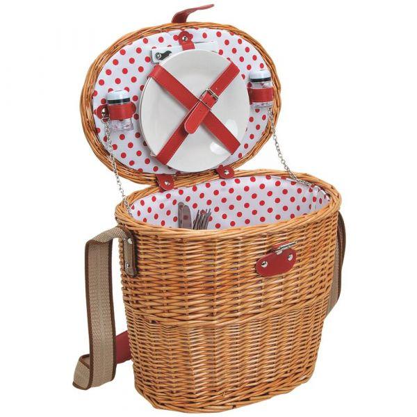 Picknickkorb 2 Personen Weidenkorb oval 11-tlg weiß rot inkl Mehrweg Geschirr