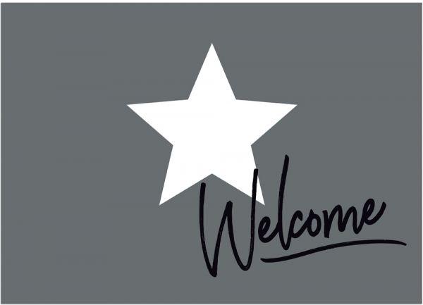 Fußmatte Fußabstreifer DECOR Welcome & Stern weiß & grau waschbar 50x70 cm