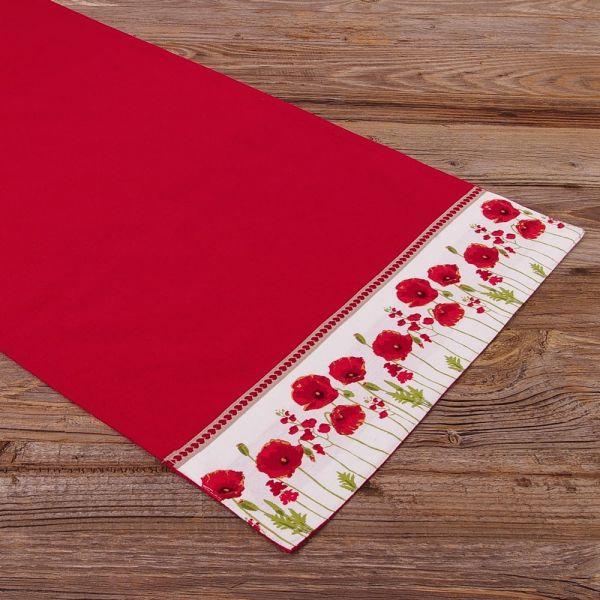Tischläufer Mitteldecke Landhaus Premium MARIE rot uni Mohnblumen 40x150 cm