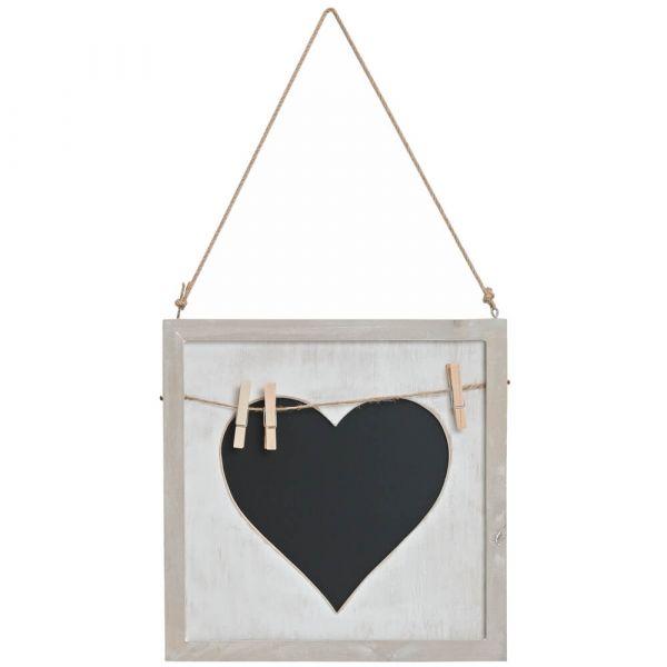 Memotafel Landhausstil Wandtafel zum Hängen Herz-Kreidetafel & Kordel 25x25 cm