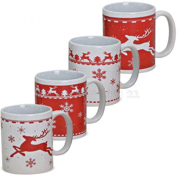 Tasse Becher Weihnachtstasse Keramik Elche Schnee rot weiß 1 Stk B-WARE