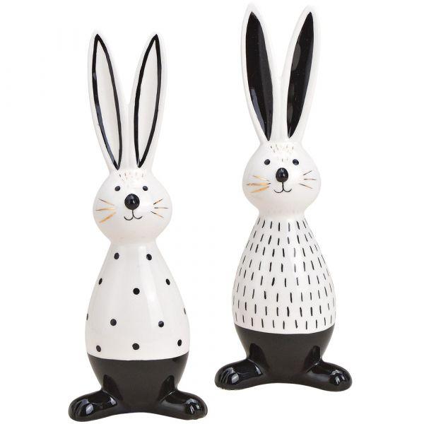 Osterhasen Hasen schwarz weiß Keramik Osterdeko Keramik Figuren 2er sort 22 cm
