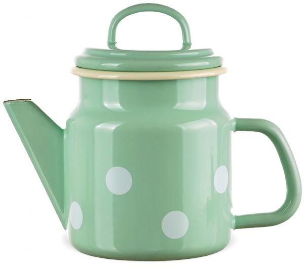 Email Teekanne / Kaffeekanne grün gepunktet Emaille Kanne 17x12 cm / 1000 ml