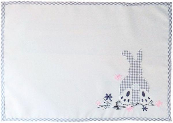 Tischläufer Mitteldecke Osterhasen Applikation Paspelrand Tischwäsche 35x50 cm