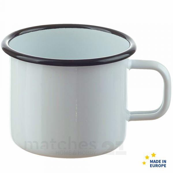 Großer Email Becher Trinkbecher weiß Emaille Geschirr 9x9 cm / 400 ml