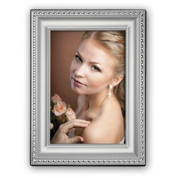Bilderrahmen versilbert Metall Samt Rückwand Fotorahmen mit Zierprofil 10x15 cm