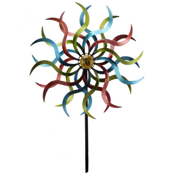 Windrad Gartendeko Metall Stab geschraubt grün blau rot gegenläufig 53x187 cm