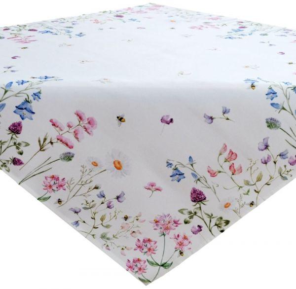 Tischdecke Mitteldecke Tischwäsche Wiesenblumen Blumen Blüten bunt 110x110 cm