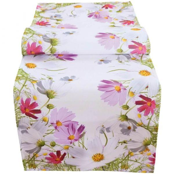 Tischläufer Mitteldecke Blumenwiese Blumen Frühling weiß Druck bunt 40x140 cm