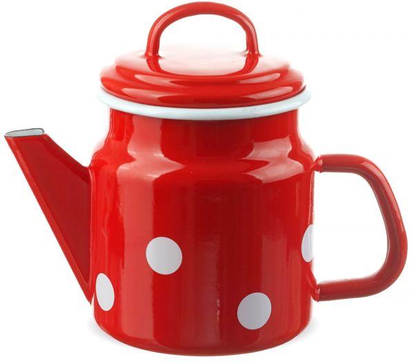 Email Teekanne / Kaffeekanne rot gepunktet Emaille Kanne 17x12 cm / 1000 ml