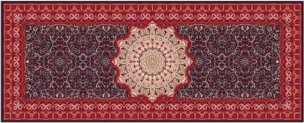 Teppichläufer Küchenläufer Teppich Perser Ornamente Stern rot waschbar 60x150 cm