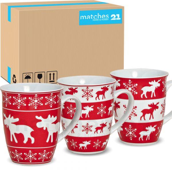 Elch Weihnachtstassen Weihnachtsmotiv Tassen rot weiß Porzellan 36 Stk. Karton