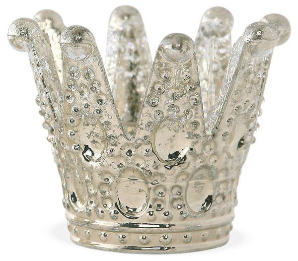 Krone Glas Teelichthalter Aschenbecher Tischdeko Shabby Antik silber 1 Stk 9x8 cm