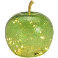 Apfel & 20er LED Licht & Timer Dekoapfel Glas dunkelgrün 1 Stk Ø 16 cm 17 cm