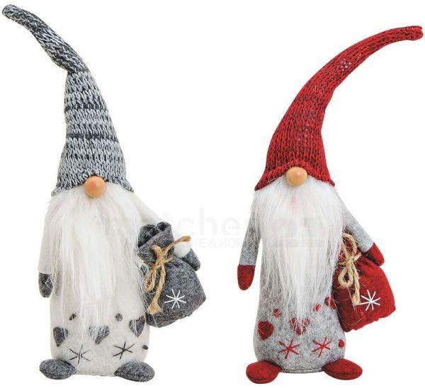 Weihnachtswichtel mit Herz Dekofiguren Weihnachtsdeko rot & grau 2er Set je 30 cm