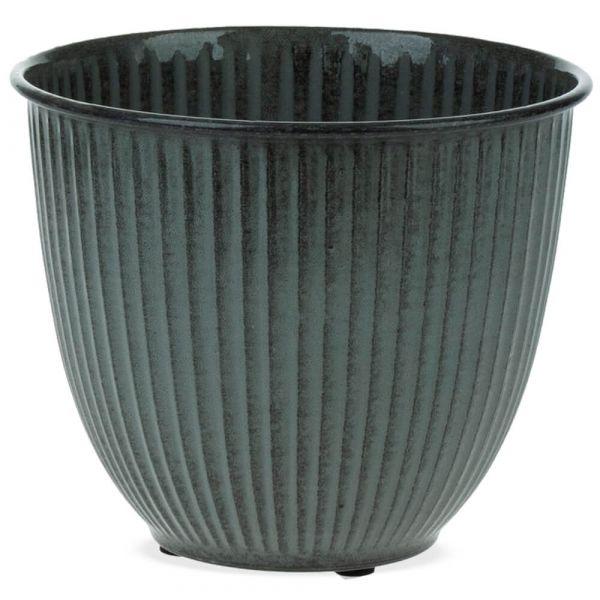 Pflanztopf Übertopf Rillenstruktur Metall rund dunkelgrau 1 Stk Ø 22x19 cm