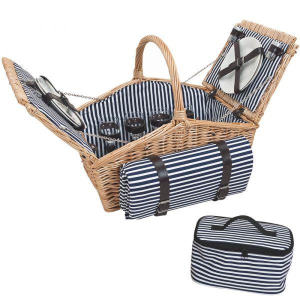 Picknickkorb 4 Personen Weidenkorb blau 14-tlg inkl Geschirr & Picknickdecke