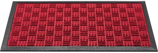 Fußmatte Fußabstreifer Türmatte Outdoor Karomuster 45x75 cm Polyester - Rot