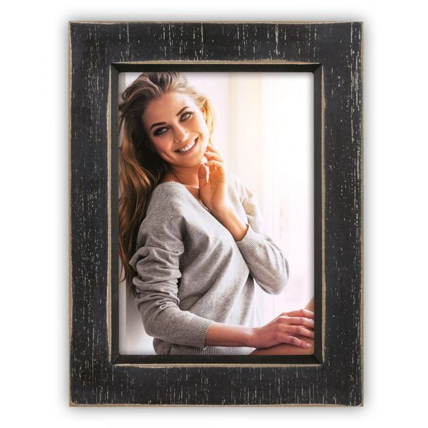 Bilderrahmen Fotorahmen Wechselrahmen Foto Vintage Holz Rahmen schwarz 13x18 cm